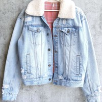 Free People - Oversized Plaid Lined Sherpa Trucker Denim Ripped Jacket - Distressed Blue
