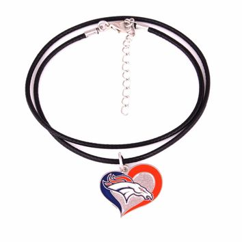 Fans collection single-sided enamel Swirl Heart Denver Broncos Football Team logo with Leather chain necklace Drop shipping