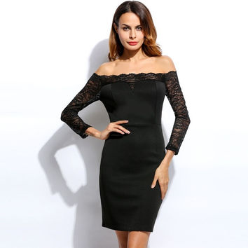 Alishebuy Sexy Women Off Shoulder Lace Slash Neck 3/4 Sleeve Bodycon Pencil Dress