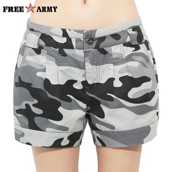 New Fashion Women'S Shorts Summer Mid Waist Denim Shorts Loose Casual Women Shorts Military Camouflage Shorts Plus Size Gk-9326B