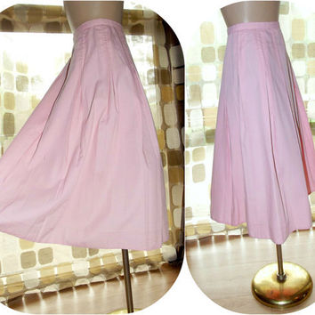 """Vintage 50s PINK Pleated Swing Skirt Full Sweep VLV Small ROCKABILLY 26"""" Wst Pin-Up"""