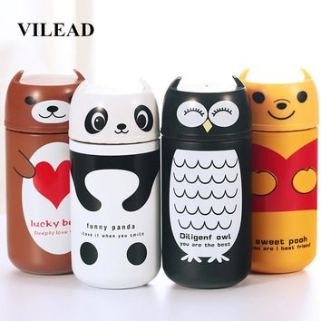 VILEAD Panda Owl Kawaii Cartoon Stainless Steel Portable Thermos Mug Vacuum Flask Children Insulated Hot Water Thermos Bottle