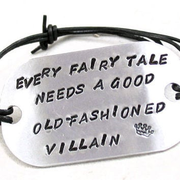 Hand Stamped Sherlock Holmes Bracelet on Leather Cord - Every Fairy Tale Needs a Good Old Fashioned Villain