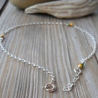 Handmade 925 Sterling Silver Porcelain Anklet 925 Sterling Silver Wire,chain,heart Shaped Chain,split,spring Rings Porcelain Yellow,red,green Beads 24-26cm Long Handmade,brand New