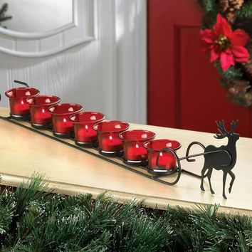 Country Christmas-Rustic Reindeer Sleight Candle Holder