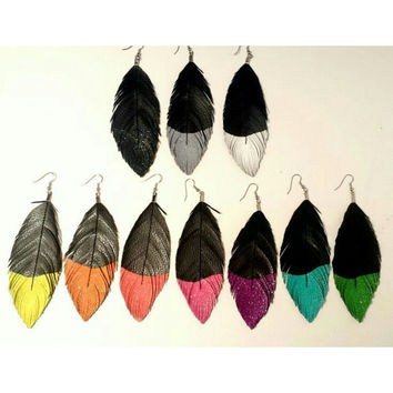 Light Brights - Glitter Faux Leather Feather Earrings - Surgical Steel