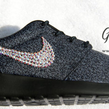 Blinged Black Print Women's Nike Roshe Run
