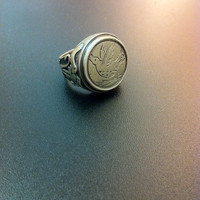 Stunning sterling silver dove ring- man statement ring- boehemian ring- artisan jewelry- greek art