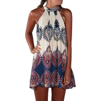 DCK9M2 Sexy Summer Beach Style Womens Loose Fashion Multicolor Sleeveless Halter Geometric Print Vintage Paisley Short Dress Vestido
