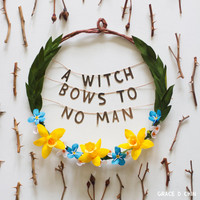 A Witch Bows to No Man - handcrafted crepe paper flower wreath