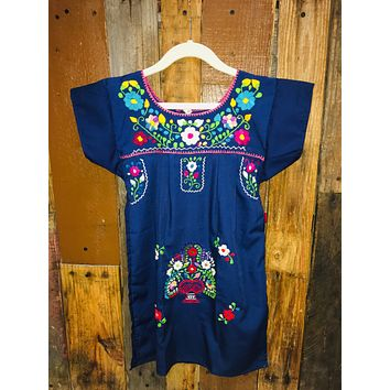 Mexican Dress for Girls Navy