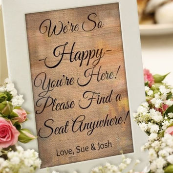 Wedding Seating Ceremony, Weddings, Decor, Ceremony Seating Sign, burlap art print, rustic beach country chic wedding ideas, wedding decor