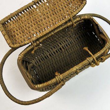 1800s Basket, Miniature, Handwoven, Unique