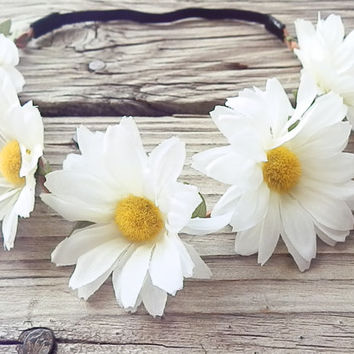 white Daisy flower crown floral head wrap Hippie Boho headband with White daisy flower and elastic back for womens boho floral headband