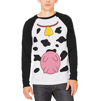Halloween Cow Costume Udders Funny Mens Long Sleeve Raglan T Shirt