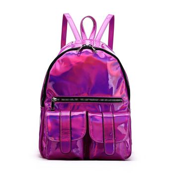 Pink Hologram Dual Pocket Backpack with Rainbow Zipper Back To School