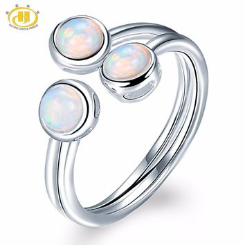 HUTANG Natural Opal Solid 925 Sterling Silver Engagement Open Ring Gemstone Fine Jewelry Women's Gift New Arrival