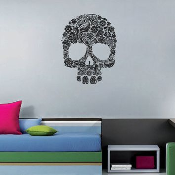 ik1122 Wall Decal Sticker skull sugar flowers dead bedroom