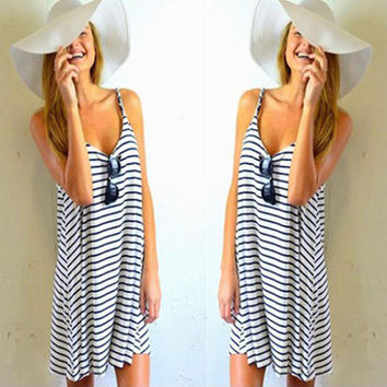 Stripe Spaghetti Strap O-neck Sleeveless Short Dress