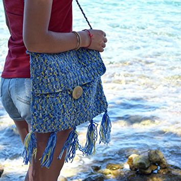 Crochet tote Summer beach boho Hippie handbag fringe Bohemian shoulder bag Blue Market Womens gift Girlfriend totes