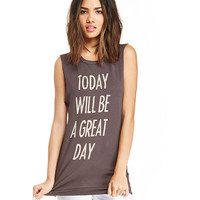 Brown Today Will Be A Great Day Print Sleeveless Tank