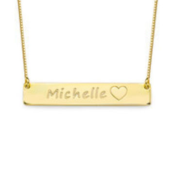 Bar Icon Style 18k Gold Plated Custom Name Necklace