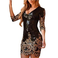 Women's Sexy Black & Gold Victorian Sequin NYE Party Dress
