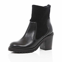 BLACK BLOCK HEEL SOCK ANKLE BOOTS