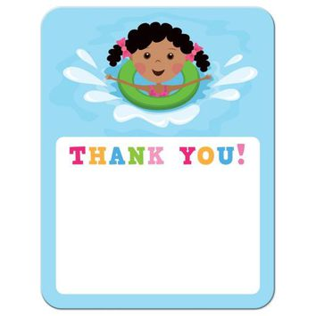 African american girl playing in the water, pool party thank you card