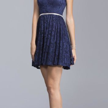 Embellished Waist Lace Homecoming Short Dress Navy Blue