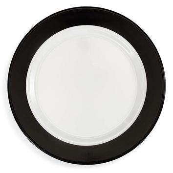 'Moonbeam' Black Ring Melamine Dinner Plate Set (Set of 4)