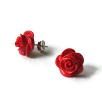 Red Rose, Red Rose Earring, Polymer Clay, Polymer Clay Jewelry, Polymer Clay Earrings, Rose Earring, Jewelry, Earring, Jewellery, Jewlery
