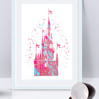 Disney Castle, Disney Castle Print, Watercolor Print, Disney Painting,Disney Art, Nursery Art, Princess Castle, Disney Castle Art, Castle