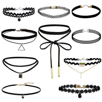 Womens 10Pcs Lace Choker Maxi Necklace Punk Fashion