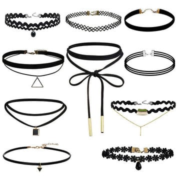 Womens Fashion 10Pcs Lace Choker Maxi Necklace