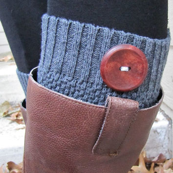 Boot Socks-Buy 2 get 1 FREE-Full Sock Included-Boot Cuffs-Boot Topper-Boot Sock- Charcoal Gray Cotton-With Wooden Button