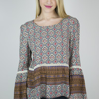 Georgia Patterned Bell Sleeve Top