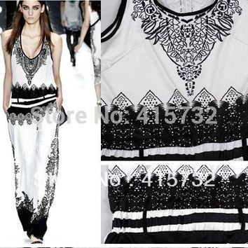 Free Shipping 2016 Summer Fashion Black And White Printed Sleeveless Vintage Jumpsuit With Belt For Women Stretch Ladies Rompers