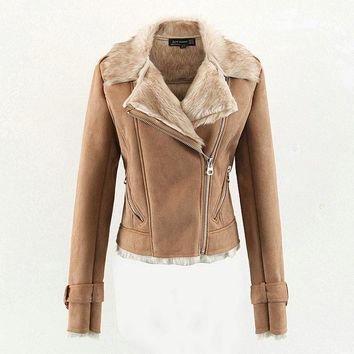 Faux Suede Leather Jackets Ladies Thick Warm Fur lining Motorcycle Matte Outerwear