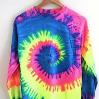 Neon Rainbow Tie-Dye Long Sleeve Tee