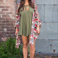 Like We Use To Butterfly Sleeve Floral Kimono (Orange & Red)