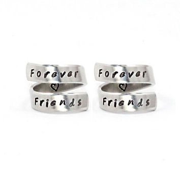 Forever Friends Ring Set, Best Friend Matching Rings, BFF Gift, Personalized Hand Stamped Friendship Jewelry, Sisters Ring