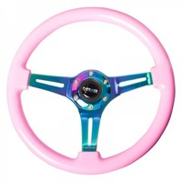 NRG Innovations® ST-015MC-PK - 3-Spoke 350mm Classic Solid Pink Wood Grain Steering Wheel with Neochrome Spokes