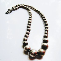 Vintage Silver Ball Necklace from Iguala, Mexico