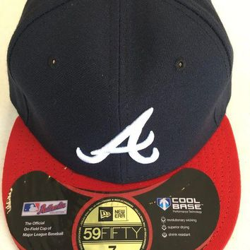DCCKIHN ATLANTA BRAVES MLB NEW ERA 5950 NAVY WHITE 'A' RED BRIM BLACK UNDER FITTED HAT