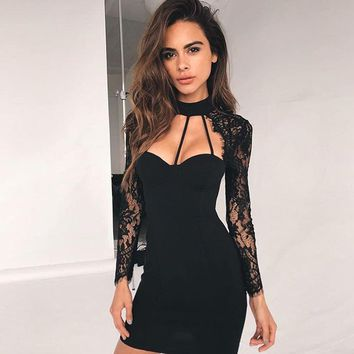 Solid Color Fashion Hollow Lace Long Sleeve Bodycon Mini Dress