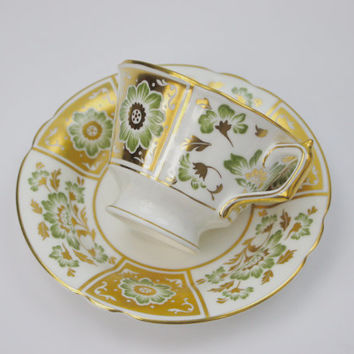 Royal Crown Derby Tea Cup and Saucer / Green Derby Panel