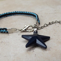 Nautical Star Bracelet:  Navy Blue and Black Macrame Cord Americana Wire Wrapped Charm Patriotic Unisex Jewelry