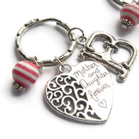 Mother & Daughter Forever Keychain ~ Mothers Day Gift, Heart Charm Keyring, Personalized Initial Jewelry, Mom Token, Mommy Birthday Gifts