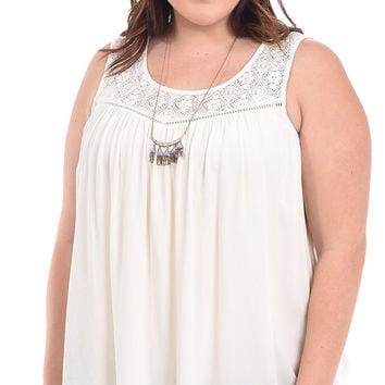 Plus Size Lace Paneled Woven Tank Top